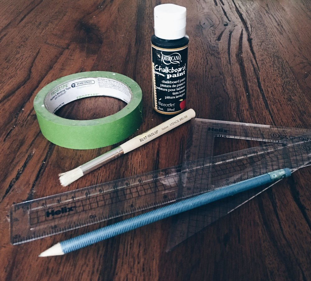 You will need: Small pot of chalkboard paint, Frog Tape, small paintbrush, pencil, measuring equipment.