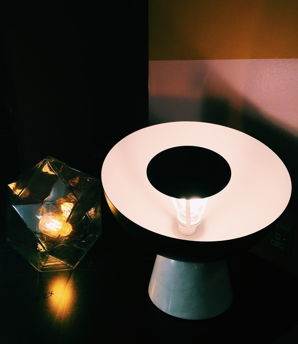 Apex lamp, £60. Shelby half sphere lamp, £130