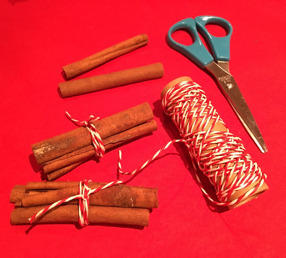 Group cinnamon sticks in bunches of three.