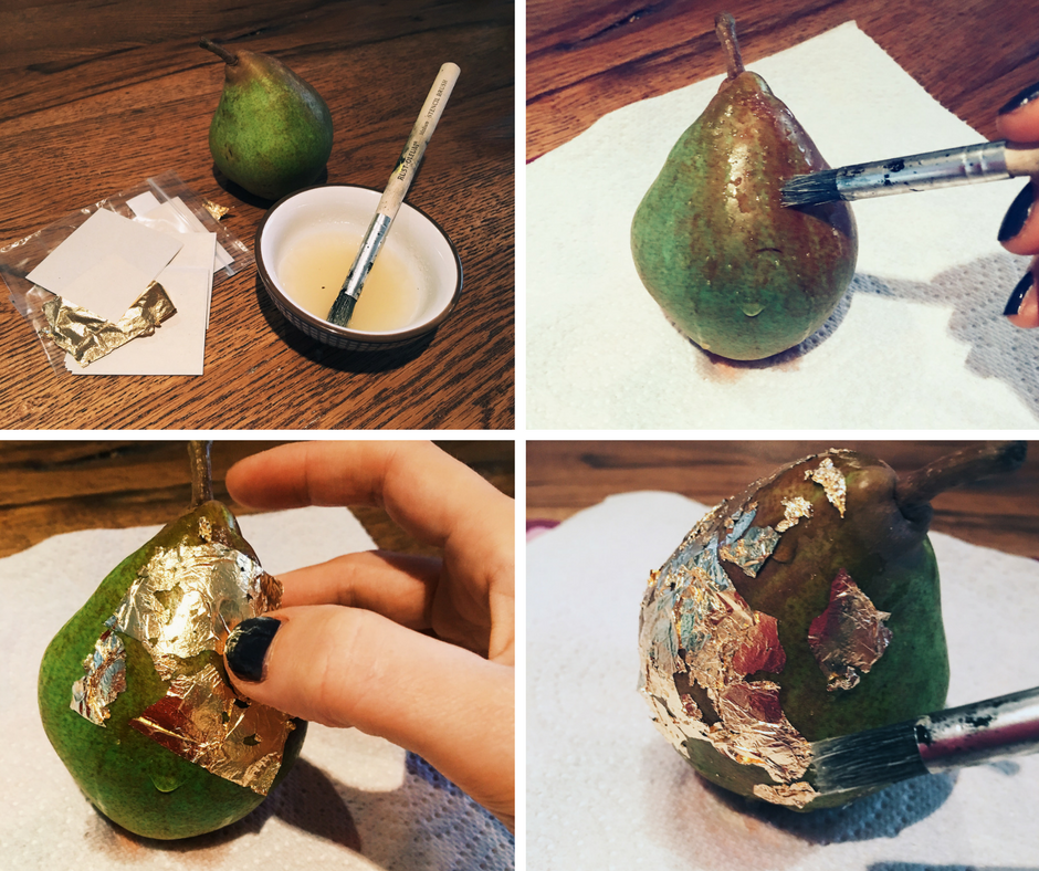 You will need a small bowl of sugar water, some gold leaf, some bottom-heavy pears and a small brush. Paint your pear with the sugar water, attach a sheet of gold-leaf, then gently brush into place.
