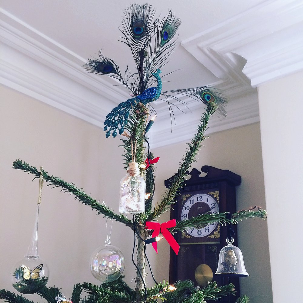 I brought this peacock decoration in Liberty. I pimped him up for the top of the tree by sticking on real peacock feathers from Hobbycraft on the back.