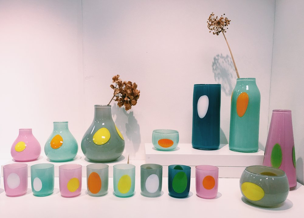 These hand-made tumblers and vases are by the very talented  Lawrence West Glass