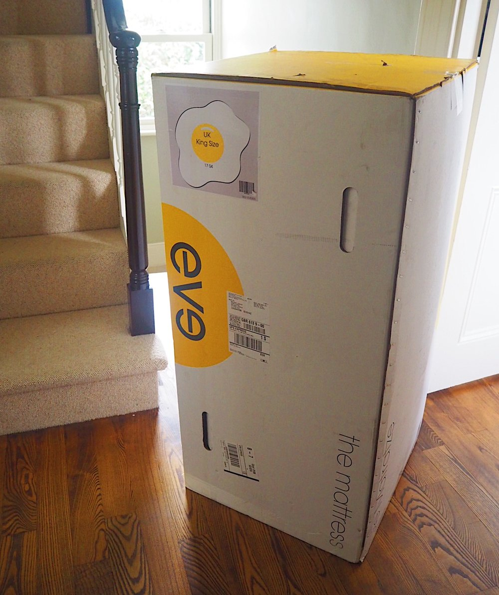 How an  eve mattress  is delivered - all compact in a box.
