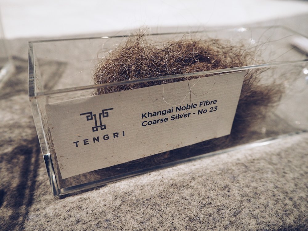 Some samples of the Tengri yak fibres at Savoir Beds.