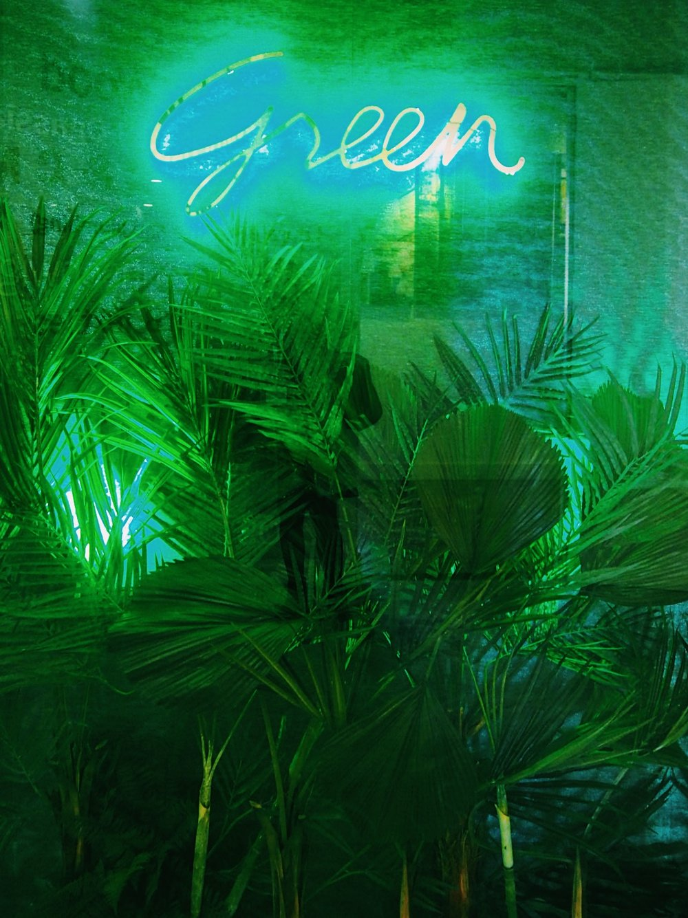 Neon Green artwork in the Design Centre East.