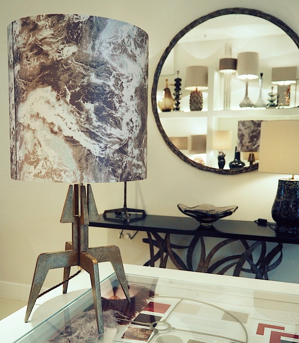 The pattern of marble can be seen here in this lampshade by Porta Romana.
