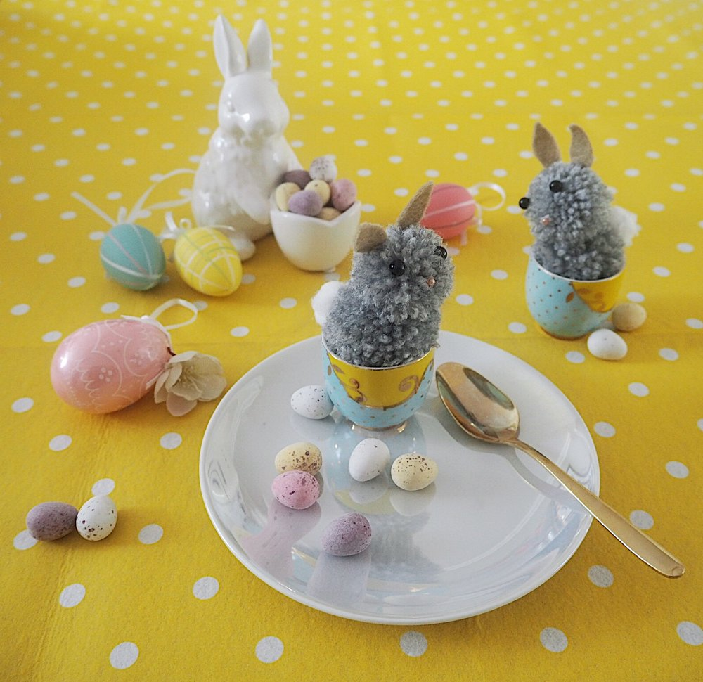 kids easter table setting egg cup pom pom bunnies u2014 melanie