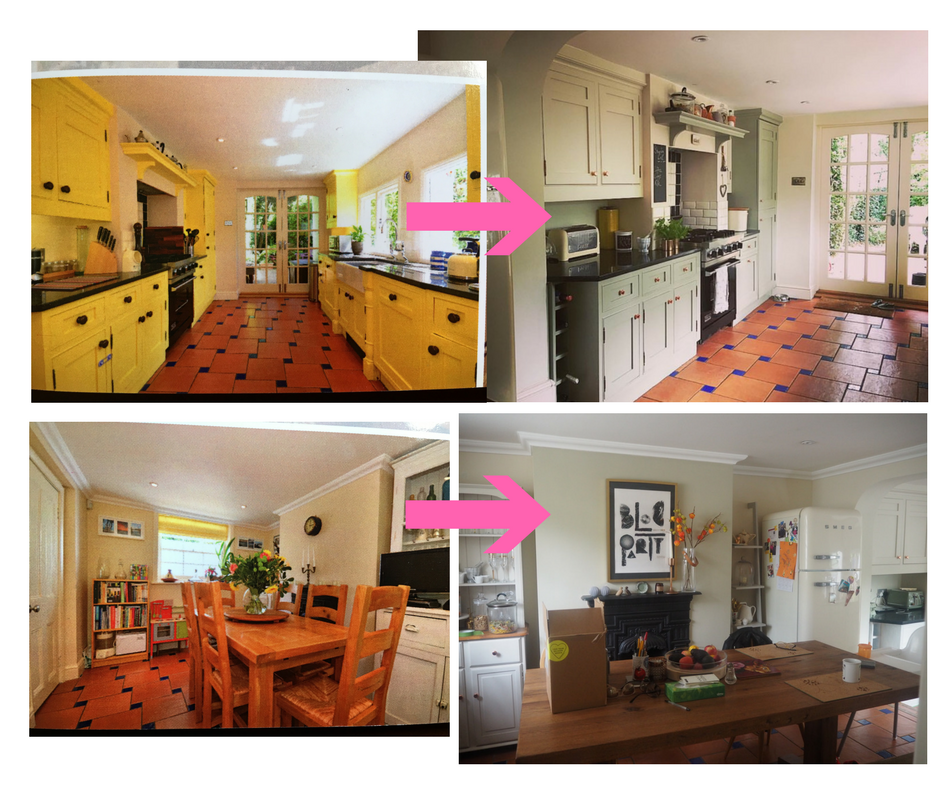 Our kitchen, left, as photographed by the estate agent (photo credit: Fine & Country). Then right, how it has looked since we moved in.