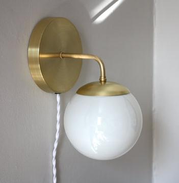 Brass Globe Sconce - Etsy £131