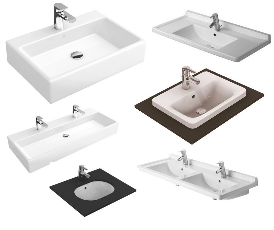 A selection of the countertop and wall-mounted basins available for furniture and vanity units from  SuperBath.