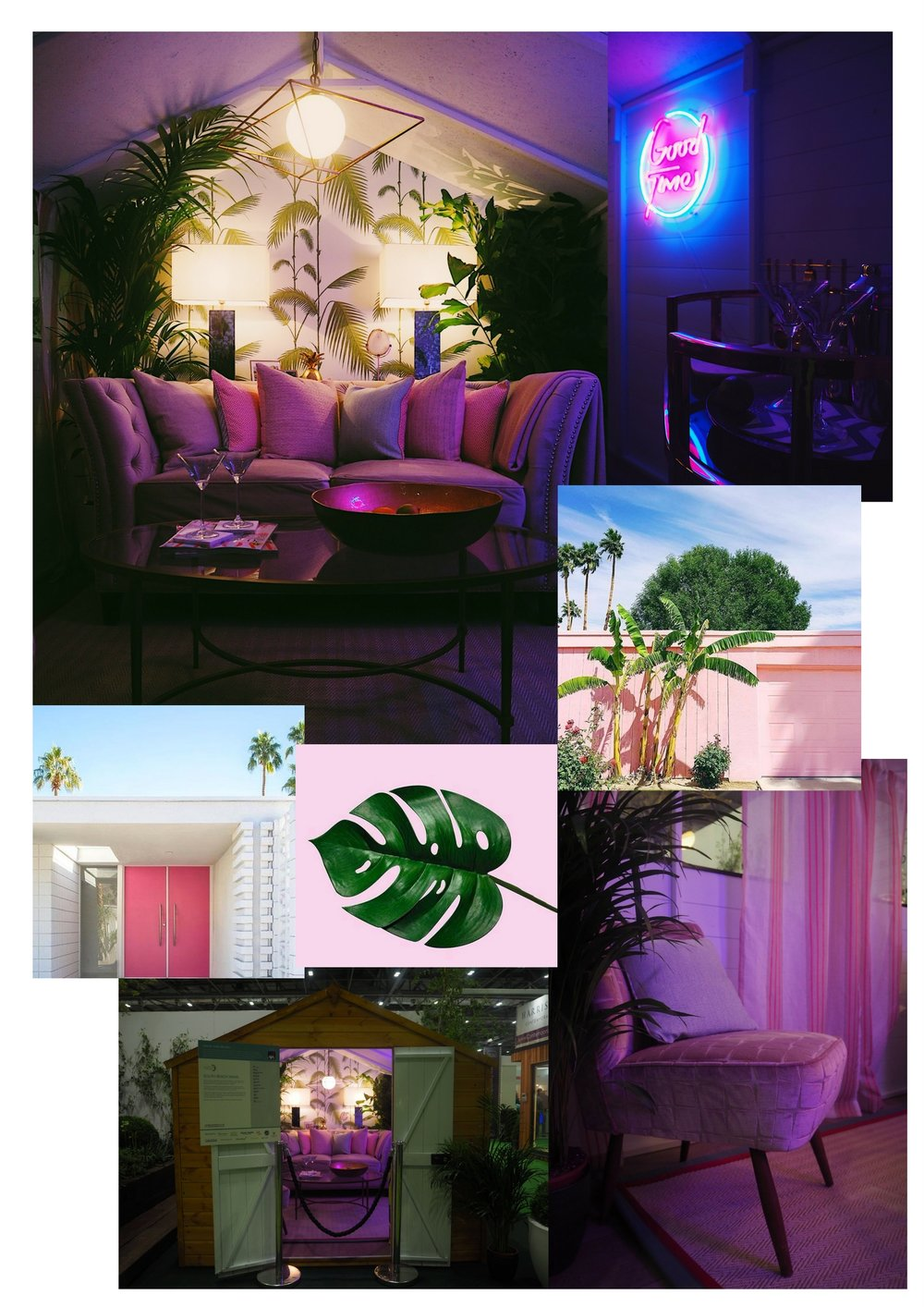 A few shots of the South Beach Miami inspired shed, as part of the Grand Shed Project sponsored by AXA Insurance. I noticed the key elements were lush green plants, palm prints and pink, which was my starting point for deigning my balcony for summer.
