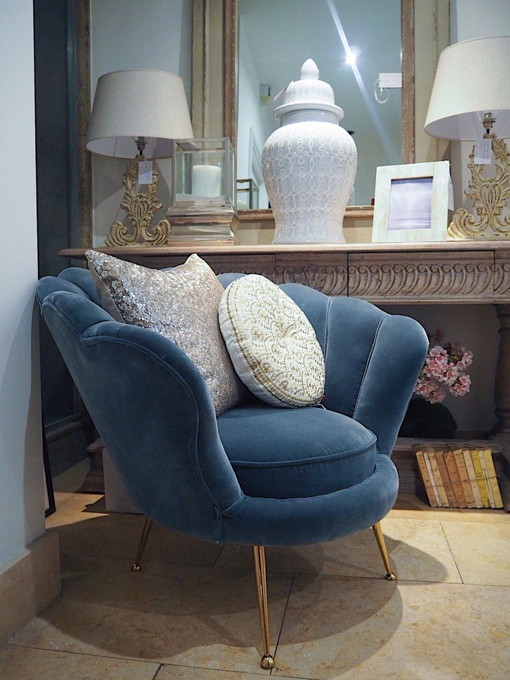 The Eicholtz Trapezium Armchair in blue