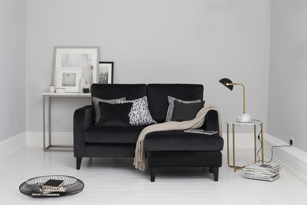 'Truth' lounger in black velvet, £649, DFS. Photo: © DFS