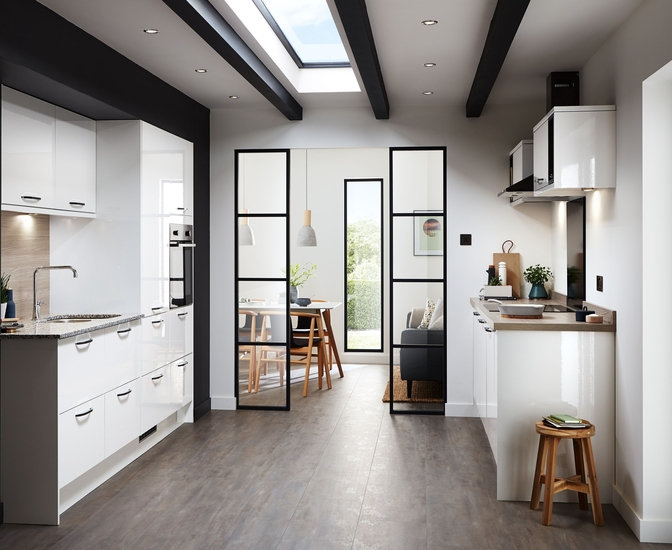 This is the Greenwich Gloss kitchen in White by Howdens