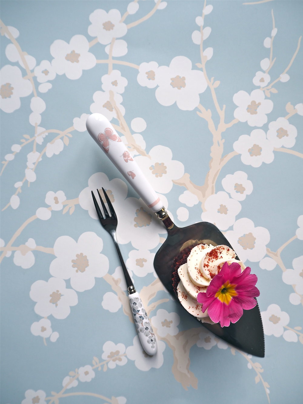 Lori Duck Egg Floral Wallpaper ,  Iona cake fork  and Butterfly Garden  Cake Slice , all Laura Ashley.