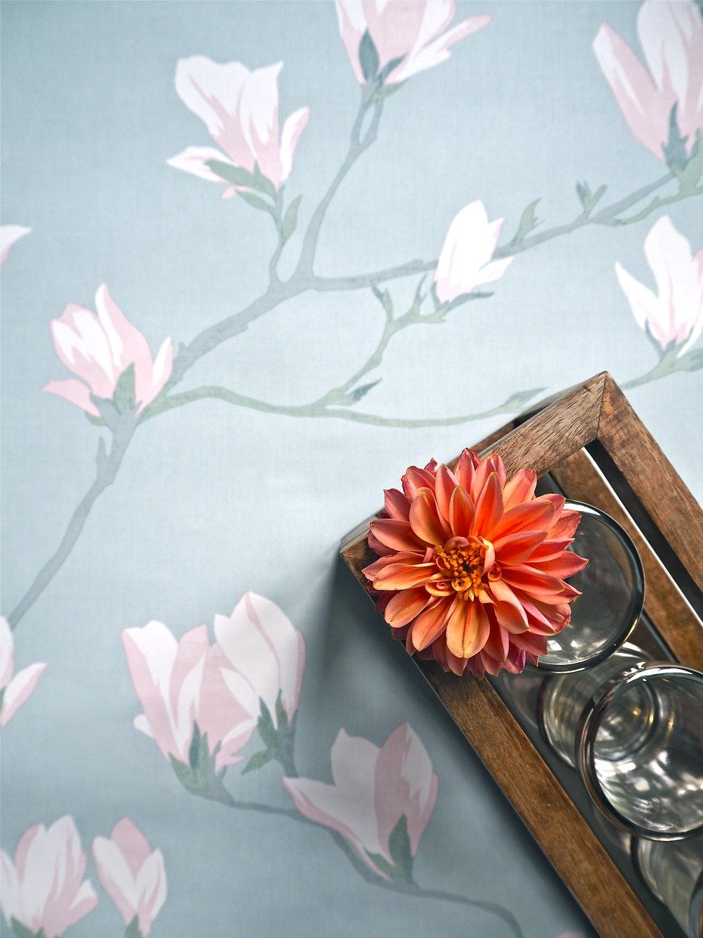 Magnolia Grove Duck Egg Wallpaper    &    Wooden Frame Tealight Holder   , Laura Ashley