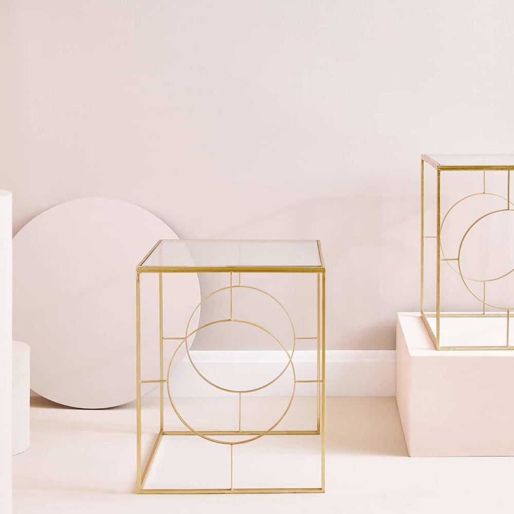 Gold side tables   , two for £159.99