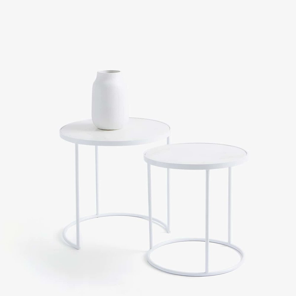 Marble & white tables set  - £199.99