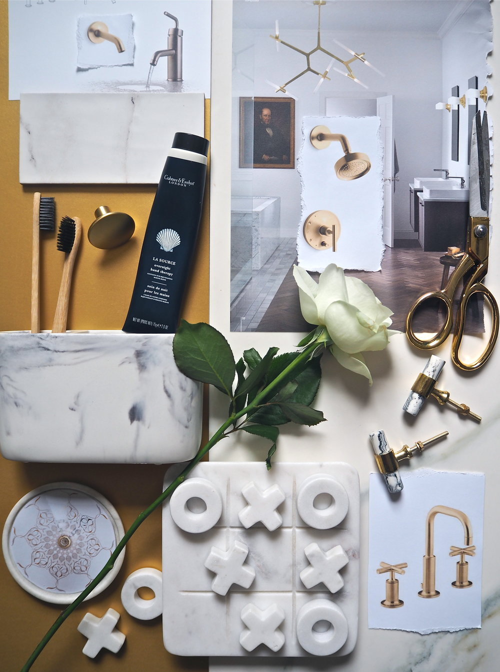 kohler gold and marble mood board