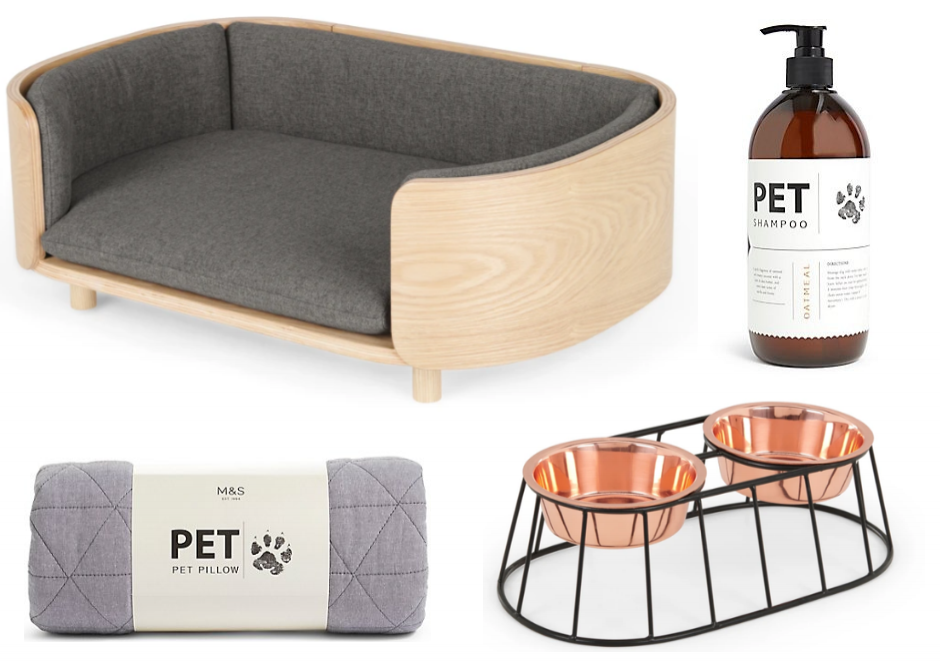 Ash pet bed    and    copper dog bowl,    MADE.com /    Pet Shampoo    and    pillow,    Marks & Spencer.