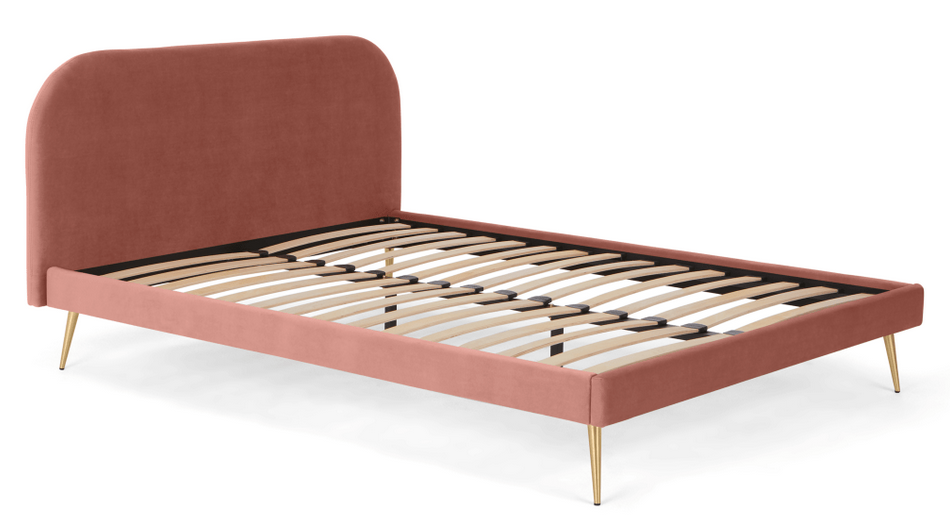 Eulia pink and brass bed by Made.com