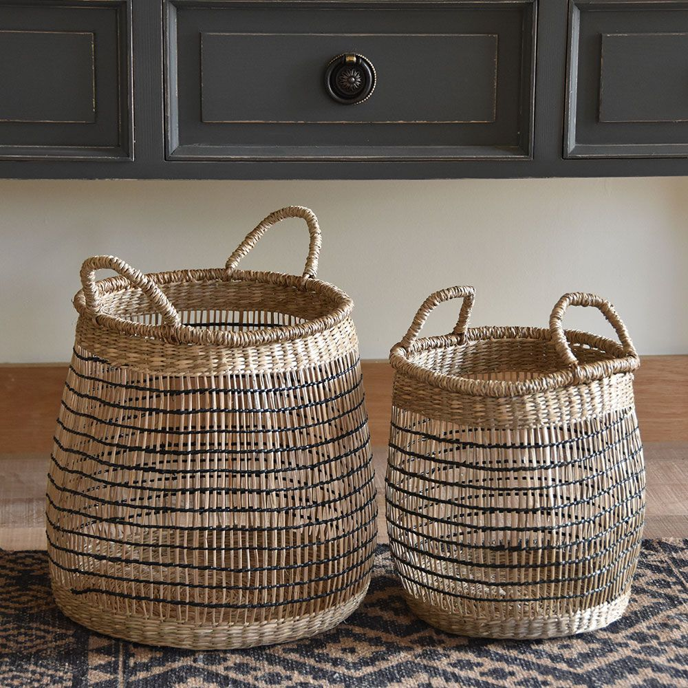 Seagrass Basket Round W/Black Trim Set of 2