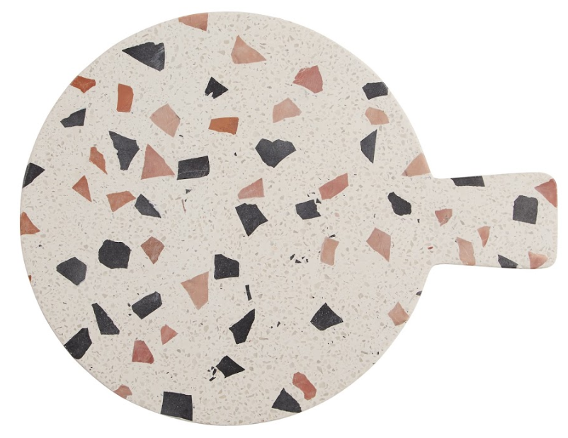 Terrazzo Serving Board - One of the new pieces for SS19 by Habitat. I love the large terrazzo black and pink pattern. I'd buy this not for functionality, but as a decorative kitchen accessory; propping it up against a wall on the worktop to add layering and style to the space.Javi round terrazzo serving board with handle, £30, Habitat.