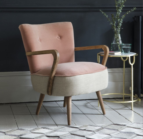 Atkin & Thyme Armchair Now In Pink! - The Calvin retro armchair by Atkin & Thyme has long been a favourite of mine, previously coming only in cobalt blue, deep green and yellow. This spring/summer it has been released in an on-trend blush pink, so I love it even more than I did before!Calvin Armchair in Champagne Velvet and Linen, £399, Atkin & Thyme