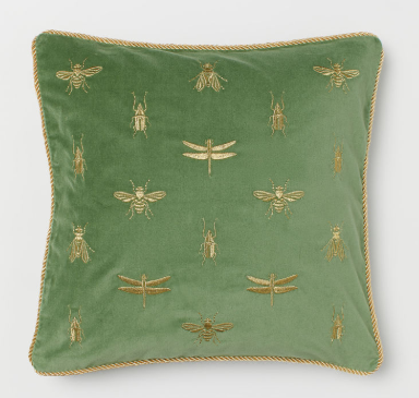 Insect Cushion Cover - Cushions can quickly look tired with daily use, so replace your cushion covers for an instant refresh for spring. This embroidered green and gold cushion cover from H&M home is just £12.99.Cushion Cover, £12.99, H&M Home