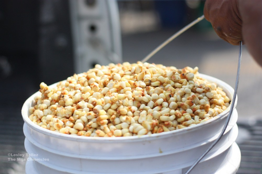 Nixtamalized corn — that's dried corn treated with calcium hydroxide — in Hidalgo, Mexico.