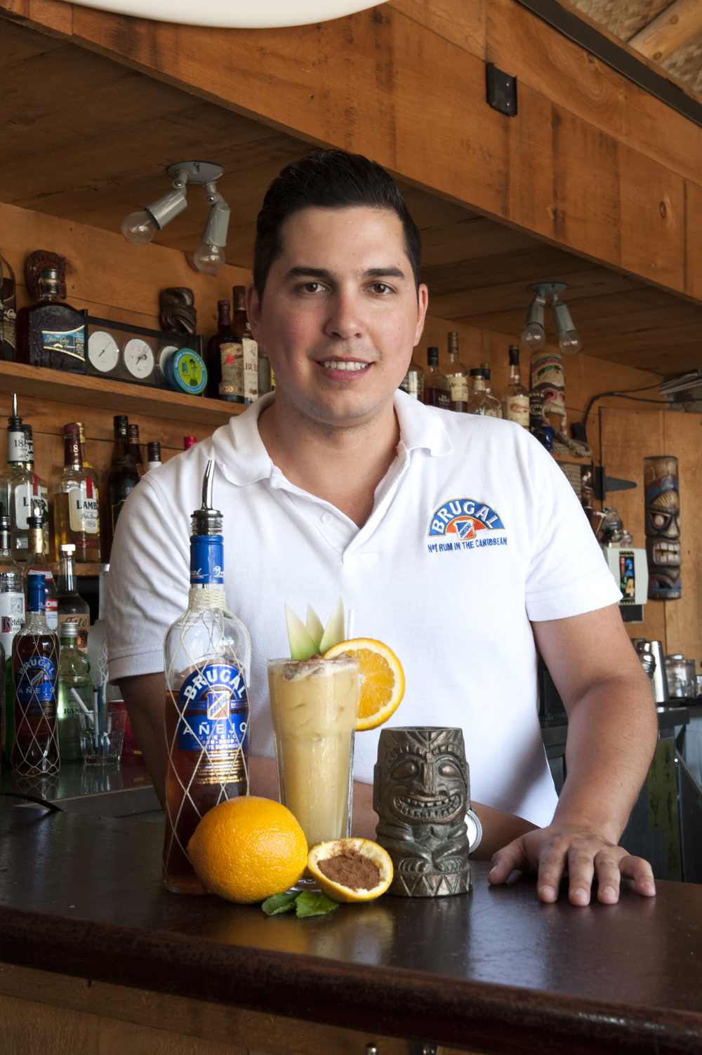 Nicolas Villalon, ambassador of Eddington pictured with a Brugal Painkiller. Photo taken at The Tiki Bar, located on 542 Queen Street W, Toronto.