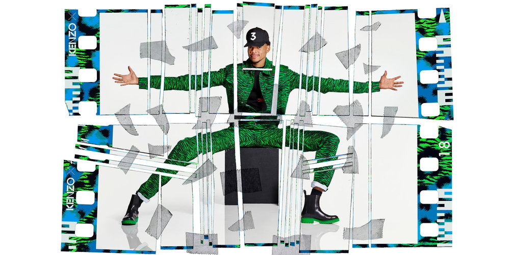 Chance The Rapper in the KENZO x H&M campaign images by the iconic fashion and music image maker Jean-Paul Goude.