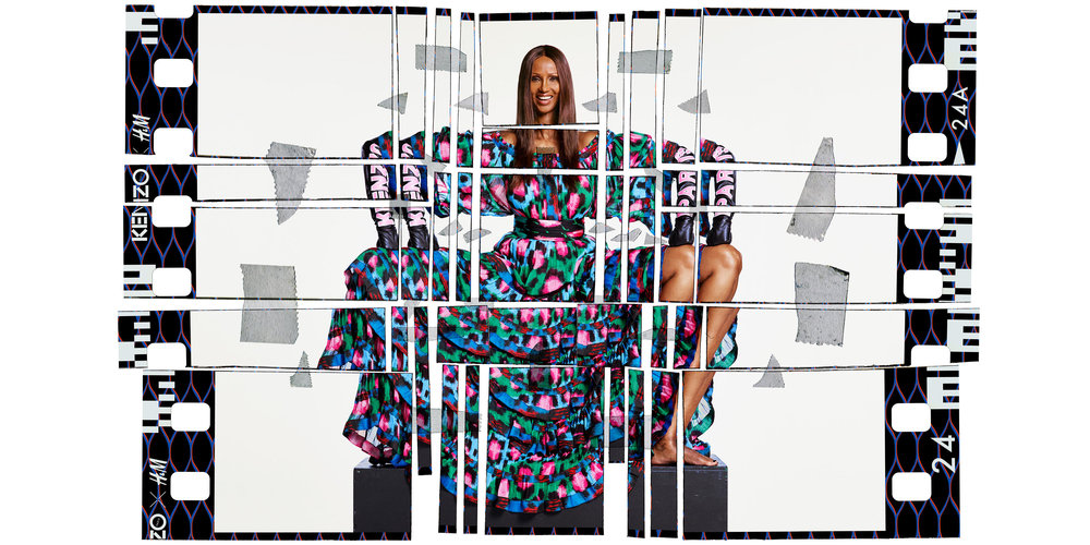 Iman in the KENZO x H&M campaign images by the iconic fashion and music image maker Jean-Paul Goude.