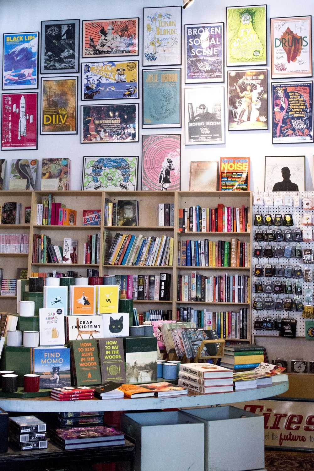 Books for sale at Sonic Boom Records in Toronto's Chinatown