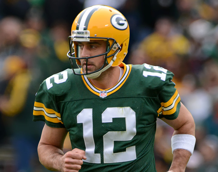 Green Bay Packers quarterback, Aaron Rodgers, playing against the Carolina Panthers on October 19, 2014. (Courtesy of Flickr/Mike Morbeck)