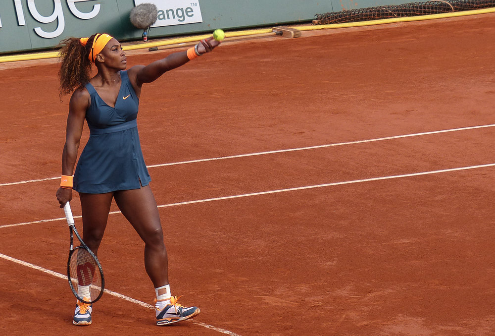 Serena Williams plays at the 2013 French Open, which she later won defeating Maria Sharapova.
