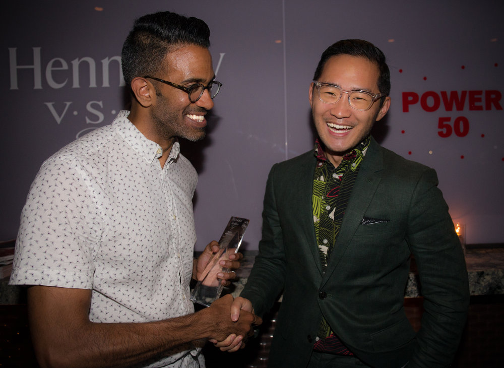 Sunil Gurmukh accepting this Hennessy V.S.O.P Privilege Award with EIC Lance Chung.