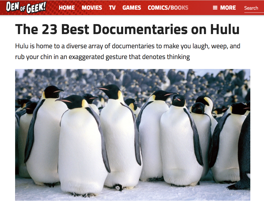 american in den of geek's top 23 docs on hulu — Halflife Films