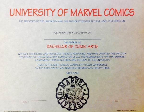 Marvel University Diploma, 1993
