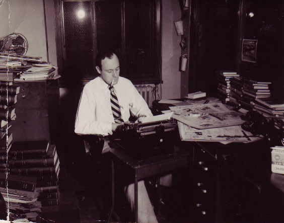 Stan Lee at the typewriter, circa 1950. Courtesy of Stan Lee Papers, Box 145, American Heritage Center, University of Wyoming