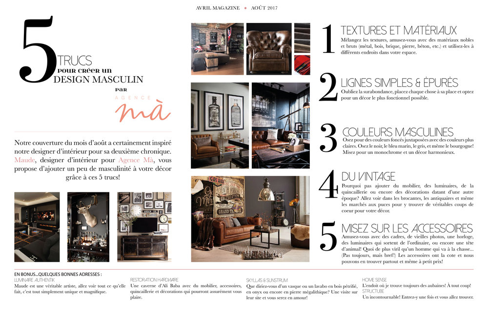 Chronique conseils design d 39 int rieur avril magazine for Magazine decoration interieur