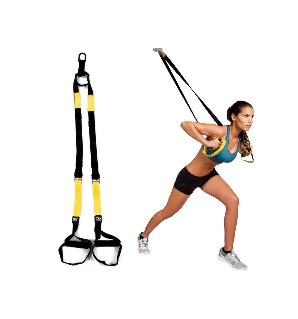 TRX - Le TRX est mon équipement chouchou. Il est compact, facile à emporter n'importe où (à l'intérieur comme à l'extérieur) et permet d'accomplir une variété d'exercices de tous les niveaux de difficulté possibles.