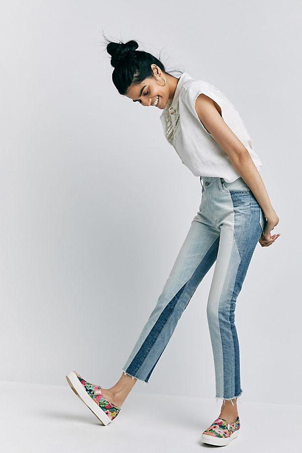 1. Ce jean trois teintes est parfait pour cet été. Avec sa longueur 7/8, il donne un look vacances et permet de mettre en évidence nos chaussures d'été qu'on est trop contentes de pouvoir sortir des boules à mites. - Anthropologie