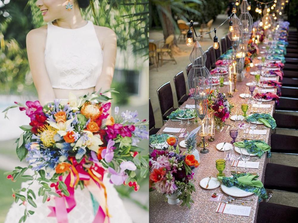 2. COULEURS VIVES - Autant les neutres et les couleurs pastels sont superbes pour des mariages, que de vitaliser cela avec l'utilisation des rouges, orangés, roses et même turquoises est magnifique. Juxtaposé au blanc, ces couleurs sont parfaites en plein été et pour des mariés dynamiques et enjoués. Créez une palette intéressante et amusez-vous autant pour l'art de la table que pour le bouquet. Vous aimez?