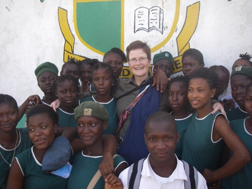 Jane with her pupils at her 'Farewell' Assembly.