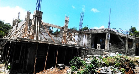 Jul 2015 - Walkway to toilets under construction around second classroom.