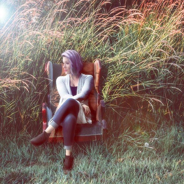 No time for photoshoot? Photoshop. . #photoshop #stockimages #purplehair #light #photoshoot #chair #ladyboss #owner