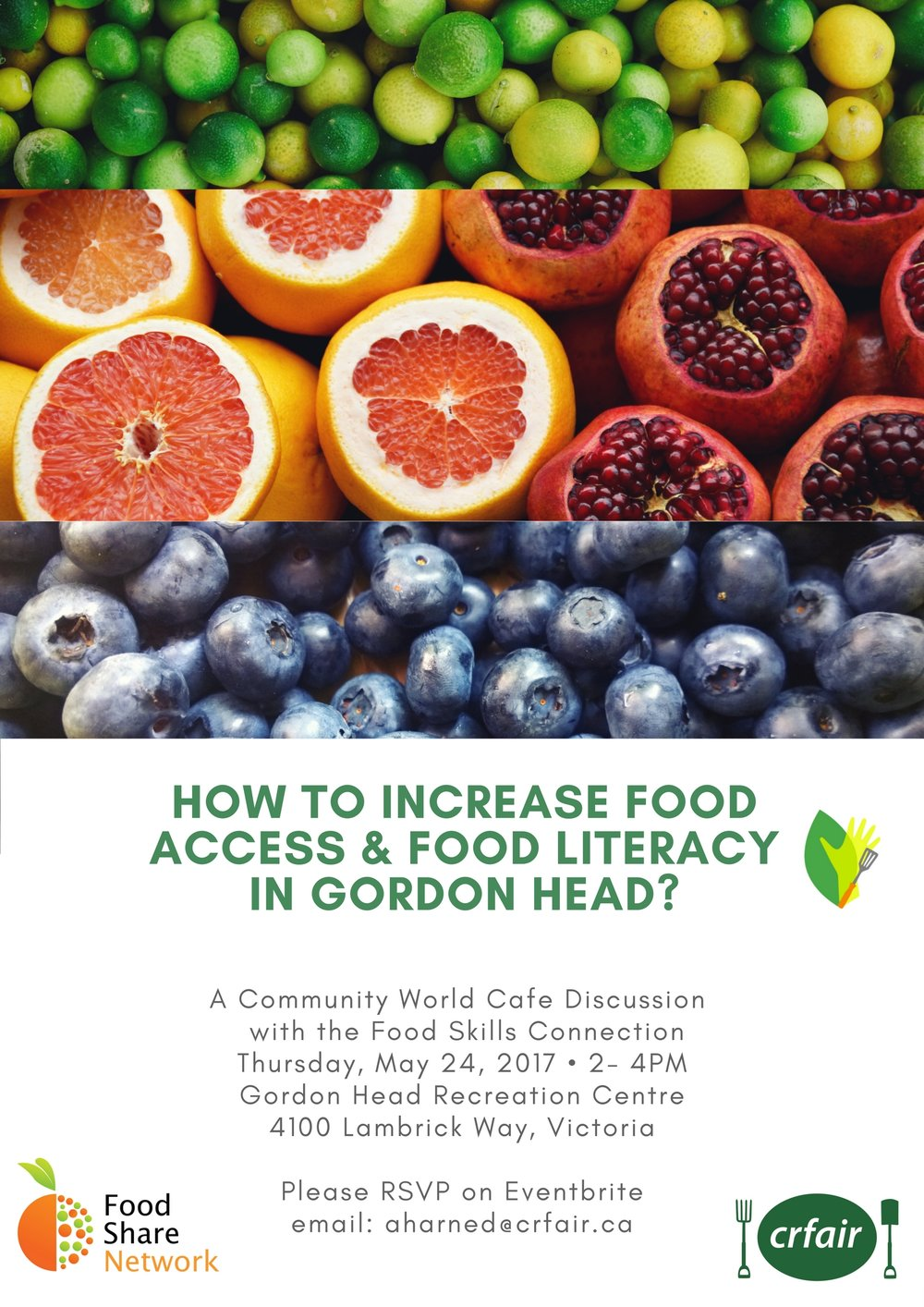 Gordon Head Pilot Project  - The Food Hub Strategy Initiative has focused its efforts in the area of Gordon Head, an identified neighbourhood with high level of food insecurity. Demographics of seniors, students, and newcomers populate this area, while only a handful of grocery stores, sparse number of community gardens, and few food related organizations are available to source food within the neighbourhood. The pilot project is connecting outside support organizations, such as the Food Share Network's Food Rescue Project, Farm to School BC, Shelbourne Community Kitchen, UVIC Free Store and Food Bank with the community through a series of Roundtables in order to help create the capacity to increase food access and food literacy at the neighbourhood level. This project is also identifying ways in which public institutions can play a greater role in providing support as 'food hub' stations to create greater accessibility to food where people live, work, and play.