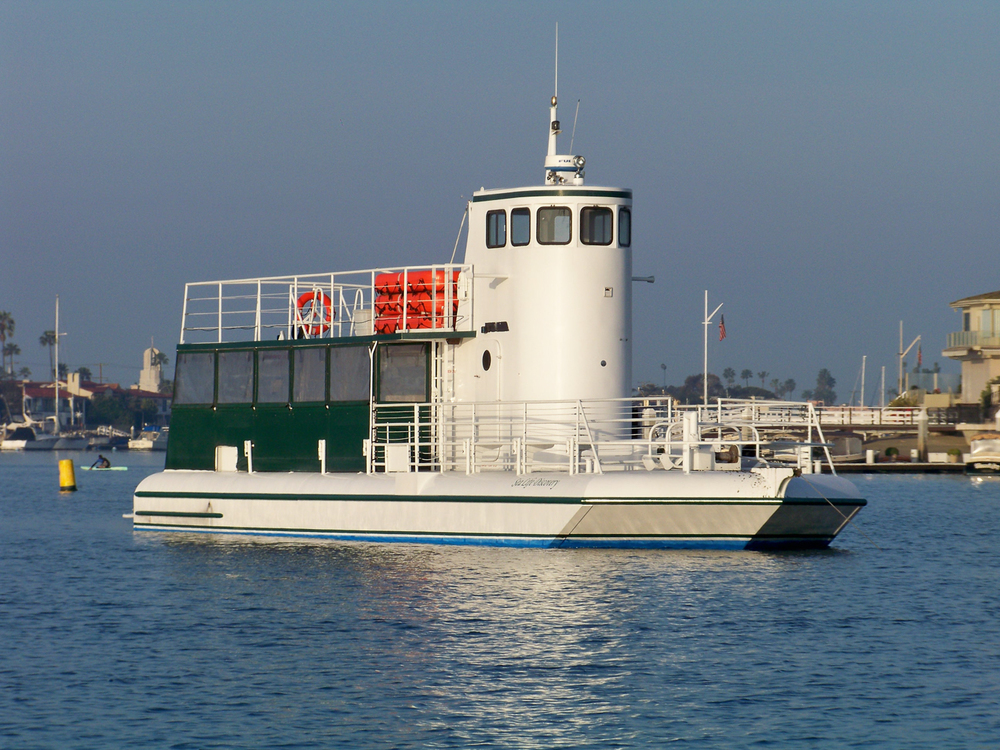 Semi Submarine M/V Sea Life Discovery at anchor in Newport Harbor.