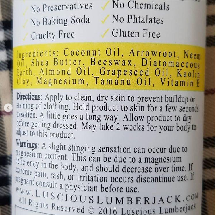 Deodorant Back Label
